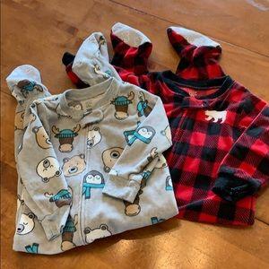 Pair of footie pajamas